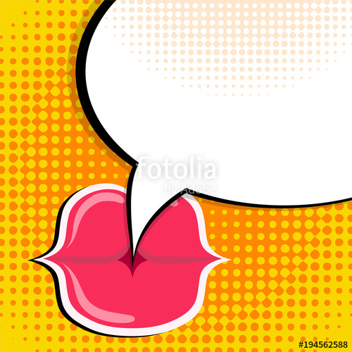 500x500 Speech Bubble And Red Lips Pop Art Comic Style Retro Background