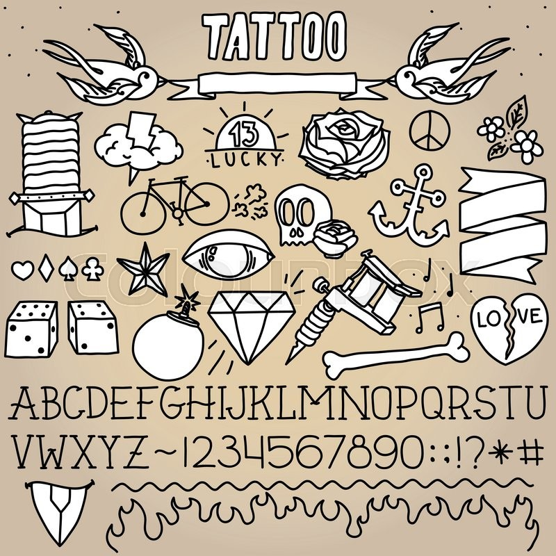800x800 Old School Tattoo Objects Monochrome Vector Pack Stock Vector