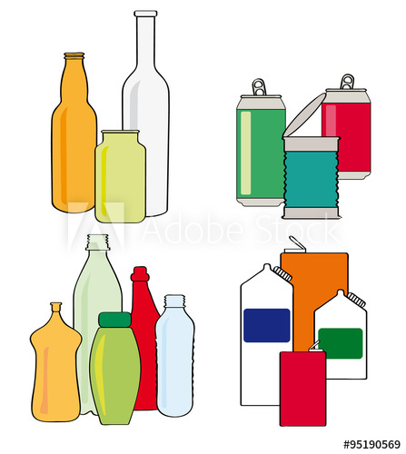 447x500 Recycling Bottles, Cartons, Cans And Tins. Cartoon Style Vector