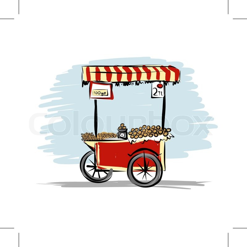 800x800 Street Food Cart For Your Design, Vector Illustration Stock