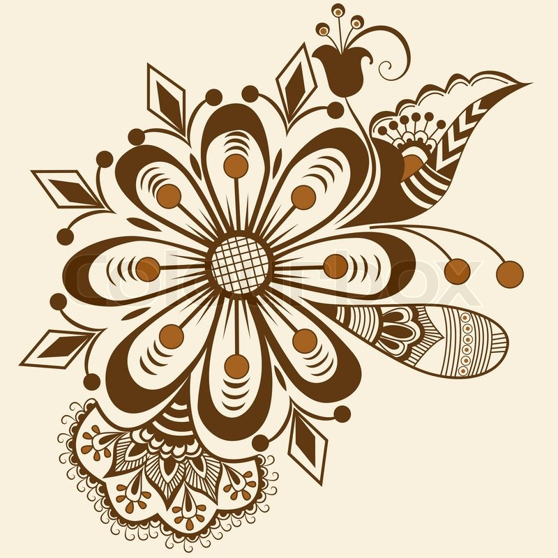 800x800 Vector Abstract Floral Elements In Indian Mehndi Style. Abstract