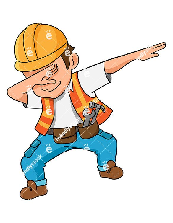 585x755 Dabbing Construction Worker Cartoon Vector Clipart In 2018