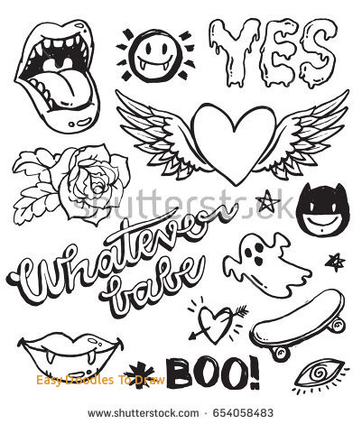401x470 Easy Doodles To Draw Set Grunge Doodles Badges Draw Embroider
