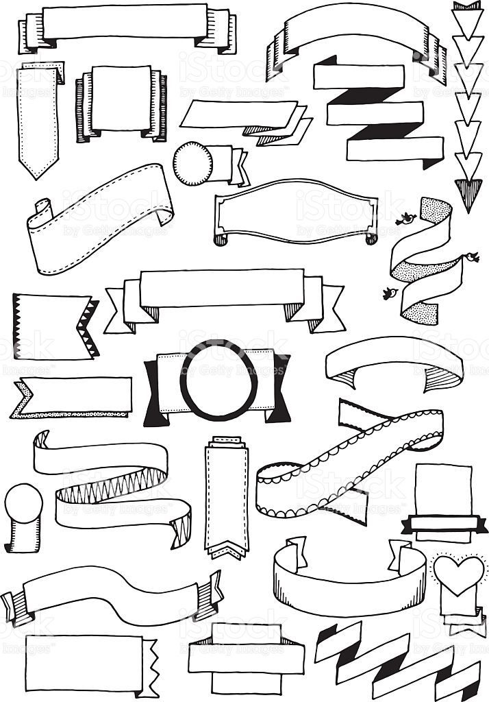 714x1024 Hand Drawn Vector Doodle Banners, Quirky And Fun Banner Clip Art