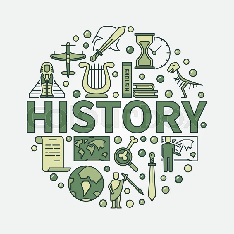 800x800 History Green Round Symbol. Vector Colorful Flat Circular Symbol