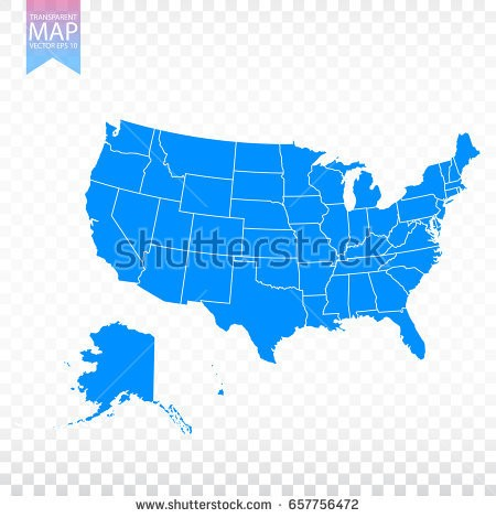 450x470 Stock Vector Transparent High Detailed Blue Map Of United States