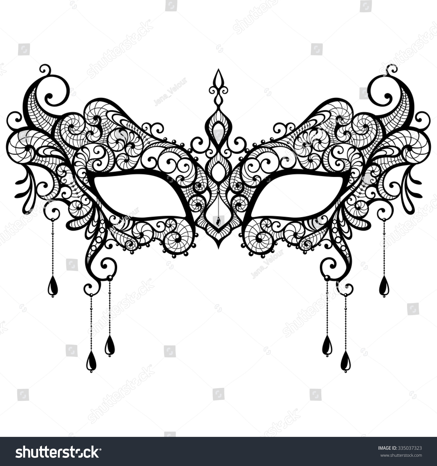 1500x1600 Stock Vector Beautiful Black Lace Masquerade Mask Isolated On