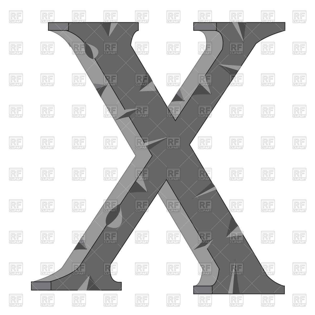 1200x1200 Letter X Made From Stone Vector Image Vector Artwork Of Signs