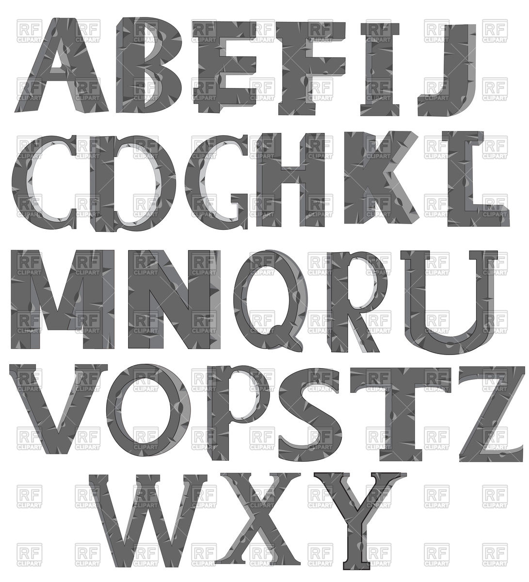 1091x1200 Alphabet Made Of Stone Vector Image Vector Artwork Of Signs