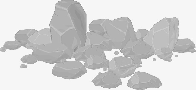 650x300 Vector Gray Stone Pile, Stone Vector, Hand Painted Stone Heap