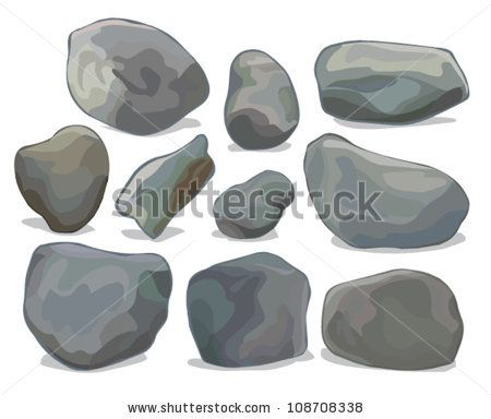 450x384 Vector Set Of Different Boulders And Stones Isolated On White