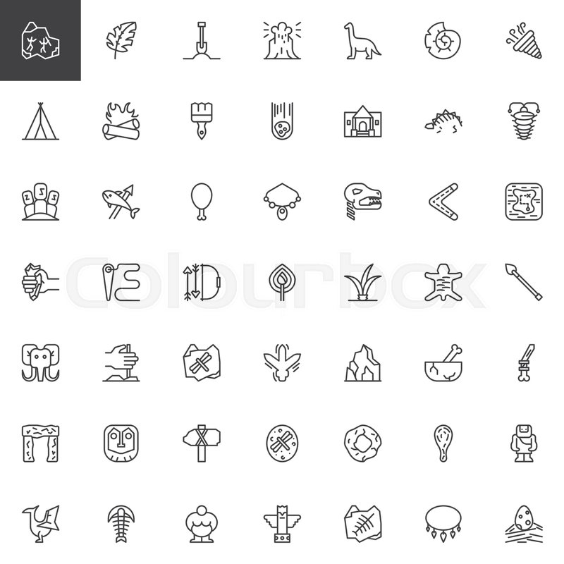 800x800 Prehistoric Elements Outline Icons Set. Linear Style Symbols