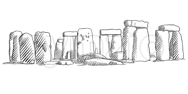620x310 Stonehenge, England Historical Monument Sketch Vector Illustration