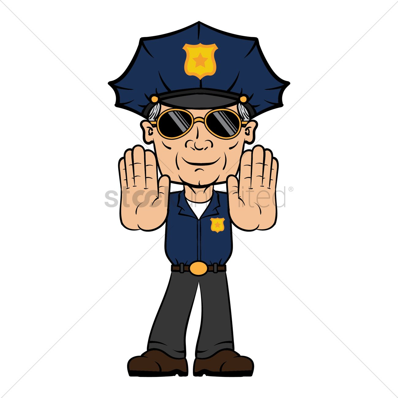 1300x1300 Policeman With Stop Hand Gesture Vector Image