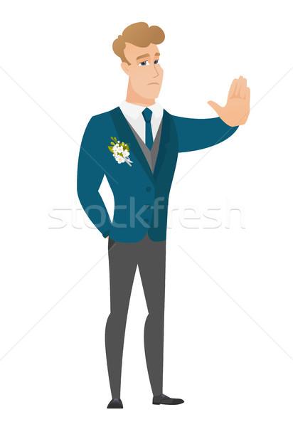 412x600 Caucasian Groom Showing Stop Hand Gesture. Vector Illustration