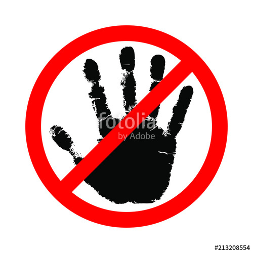 500x500 Sign Hand Blocking. Icon Stop Hand. Symbol Do Not Touch. Vector