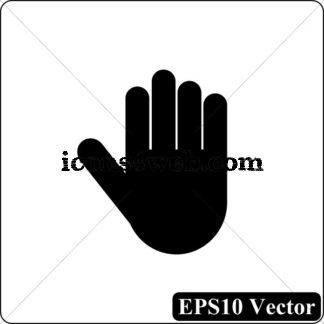 324x324 Stop Hand Black Icon. Eps10 Vector.