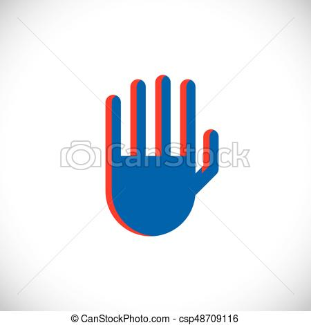 450x470 Stop Hand Gesture, Vector Prohibition Sign. Modern Art