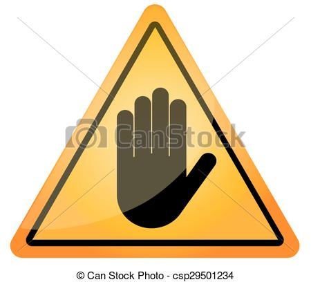 450x408 Stop Hand Sign For Prohibited Activities. Vector Illustration.