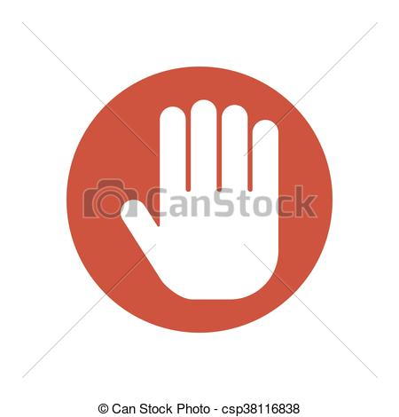450x470 Stop Hand Sign On The Red Background. Vector Illustration.