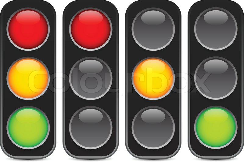 800x531 Traffic Light, Signal, Semaphore Or Control Lights Vector