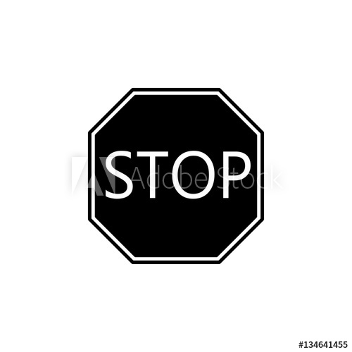 500x500 Stop Solid Icon, Traffic Regulatory And Warning Stop Sign, Vector