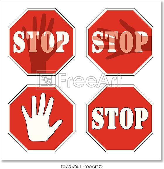 561x581 Free Art Print Of Stop Signs. Vector Stop Signs Freeart Fa7757661