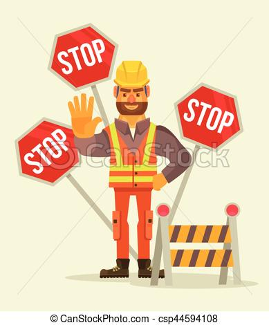389x470 Happy Smiling Road Worker Man Character Show Stop Sign. Vector
