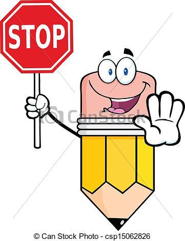 361x470 Pencil Holding A Stop Sign. Pencil Cartoon Mascot Character