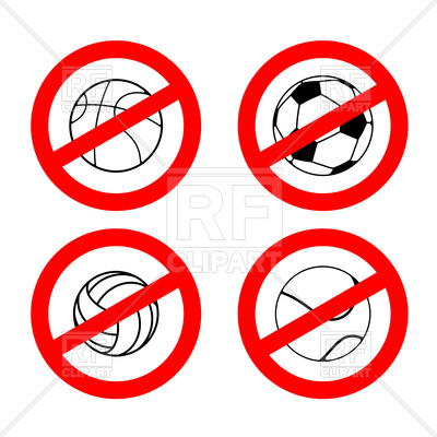 400x400 Set Of Stop Sign With Volleyball Football Tennis And Rugby Balls