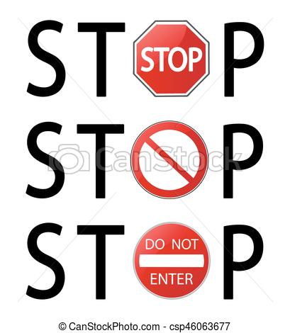 409x470 Stop Sign Vector Illustration On White Background.