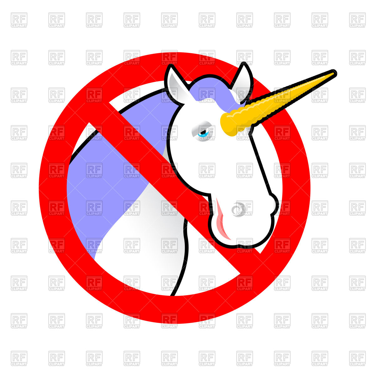 1200x1200 Red Stop Sign With Unicorn, Stop Magical Animal Vector Image