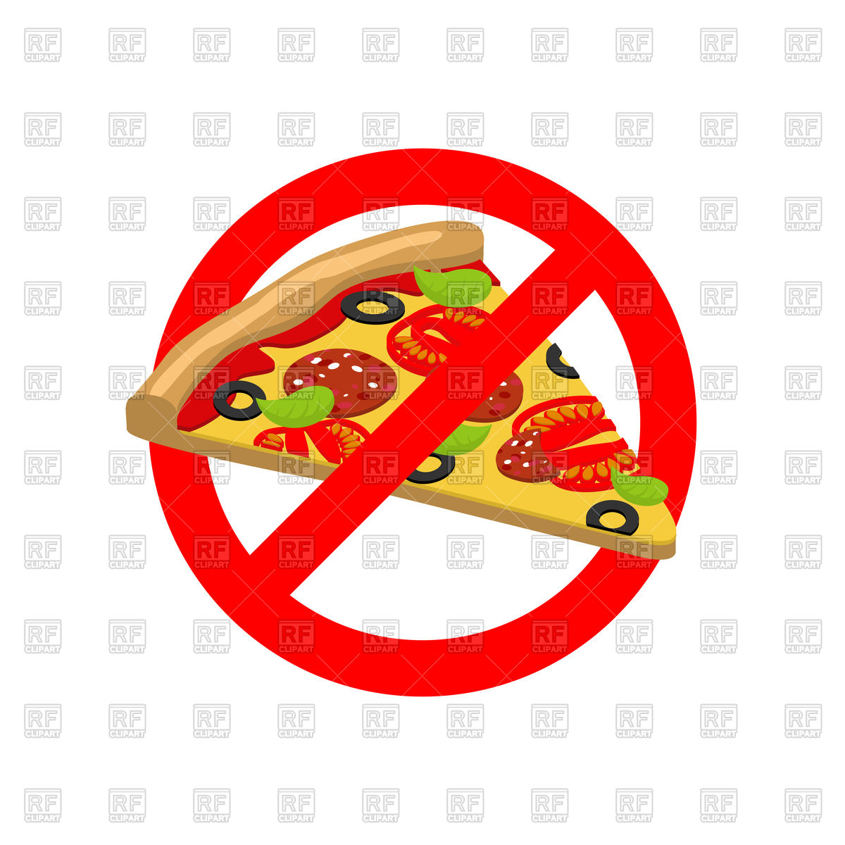 1200x1200 Sign Of Stop With Pizza Slice, Stop Fast Food Vector Image