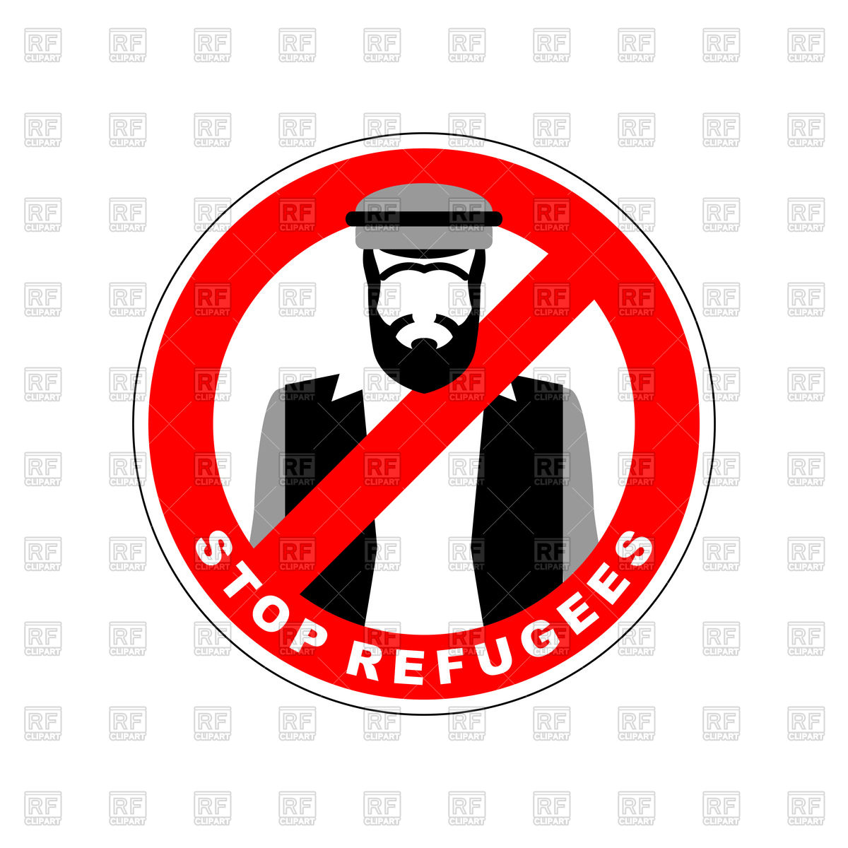 1200x1200 Ban Immigrants, Stop Sign With Refugee Vector Image Vector