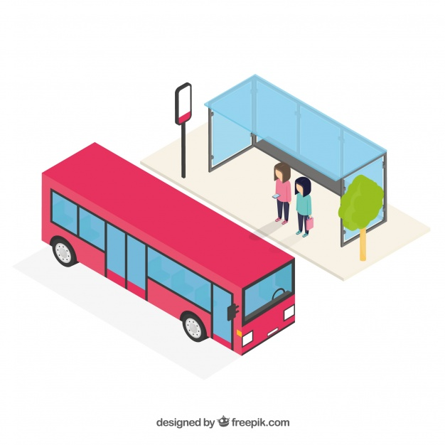 626x626 Isometric View Of Bus And Bus Stop Vector Free Download