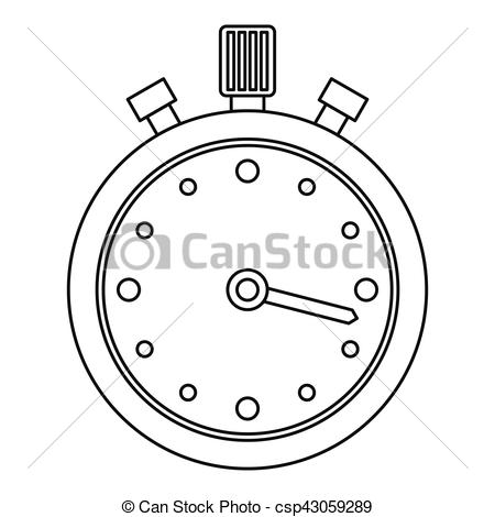 450x470 Stopwatch Icon, Outline Style. Stopwatch Icon. Outline