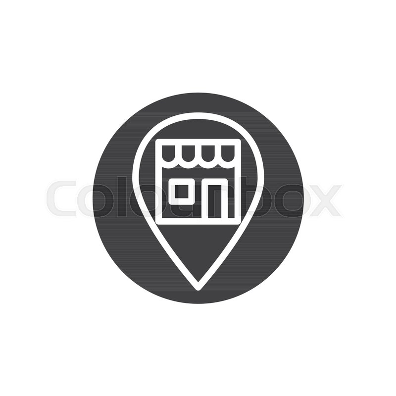 800x800 Shop Location Pin Icon Vector, Filled Flat Sign, Solid Pictogram