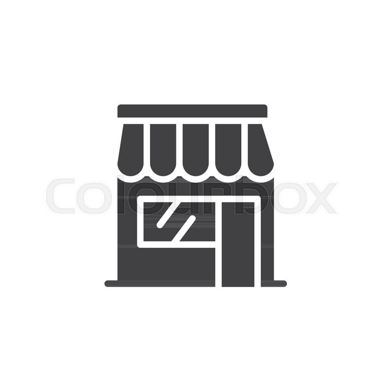 800x800 Shop Store Icon Vector, Filled Flat Sign, Solid Pictogram Isolated