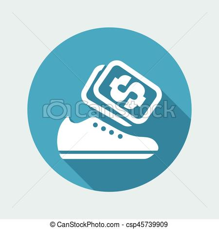 450x470 Vector Illustration Of Single Isolated Shoes Store Icon.