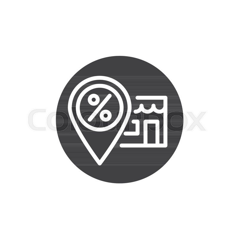 800x800 Discount Store Location Pin Icon Vector, Filled Flat Sign, Solid