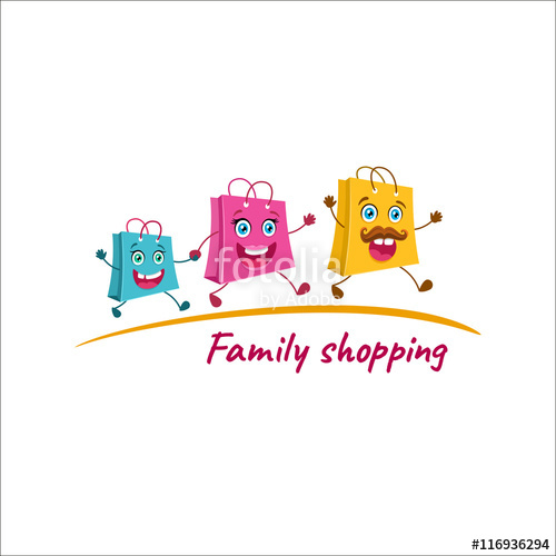 500x500 Family Shopping Logo. Happy Shopping Bags Family Running To The
