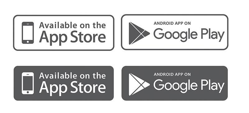 800x364 Free App Store Amp Google Play Badges Vector