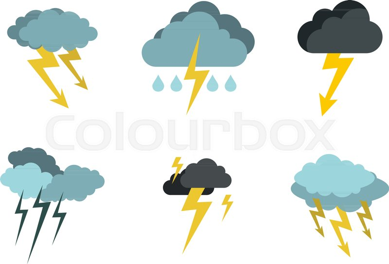 800x543 Storm Cloud Bolt Icon Set. Flat Set Of Storm Cloud Bolt Vector