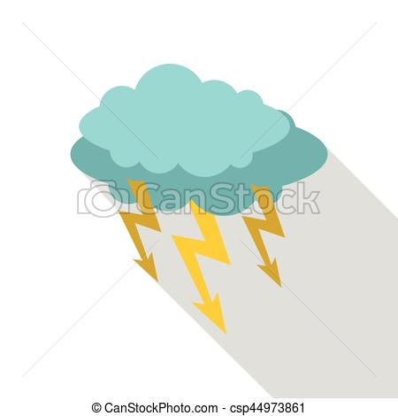 450x470 Storm Cloud Lightning Bolt Icon, Flat Style. Storm Cloud Lightning