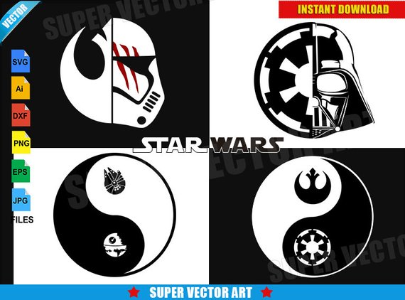570x422 Star Wars Yin Yang Symbol Vector Clipart Svg Eps Png Darth Etsy