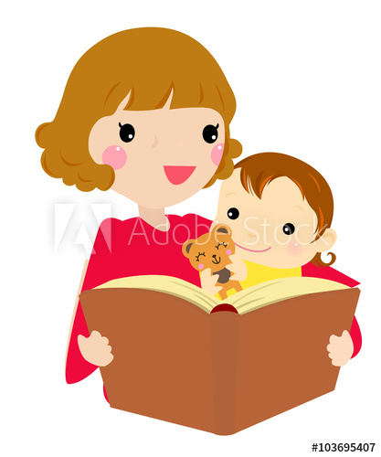 417x500 Mother Reading Her Daughter The Story. Vector Illustration.