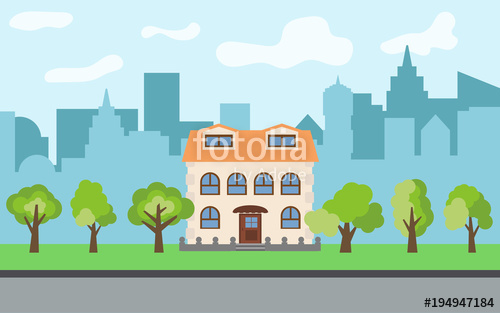 500x313 Vector City With Two Story Cartoon House And Green Trees In The