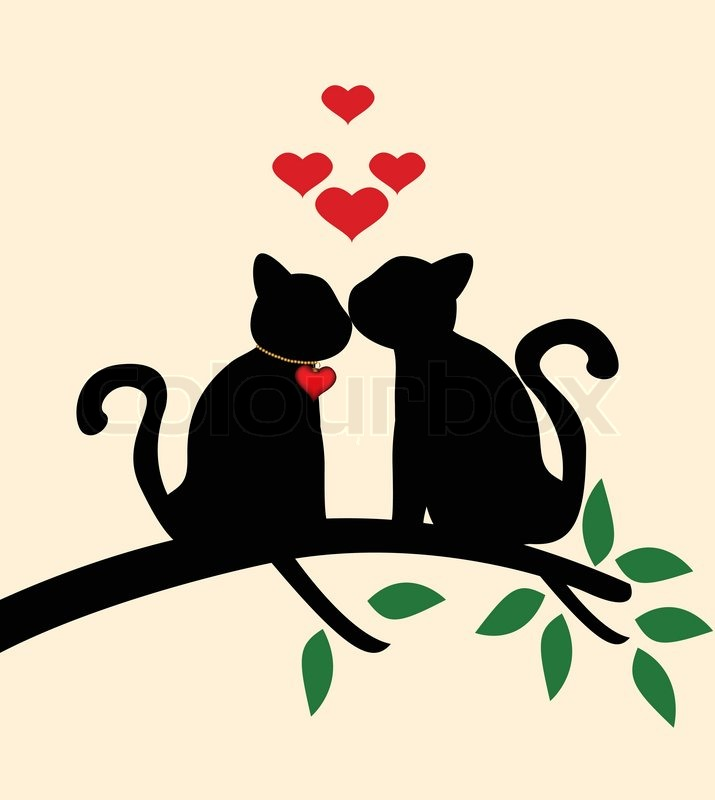 715x800 Vector Illustration Of Cat Love Story On Tree Stock Vector