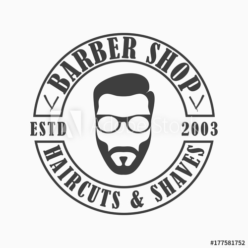 500x500 Barber Shop Logo. Template Emblem Of Hairdressing Salon With Face