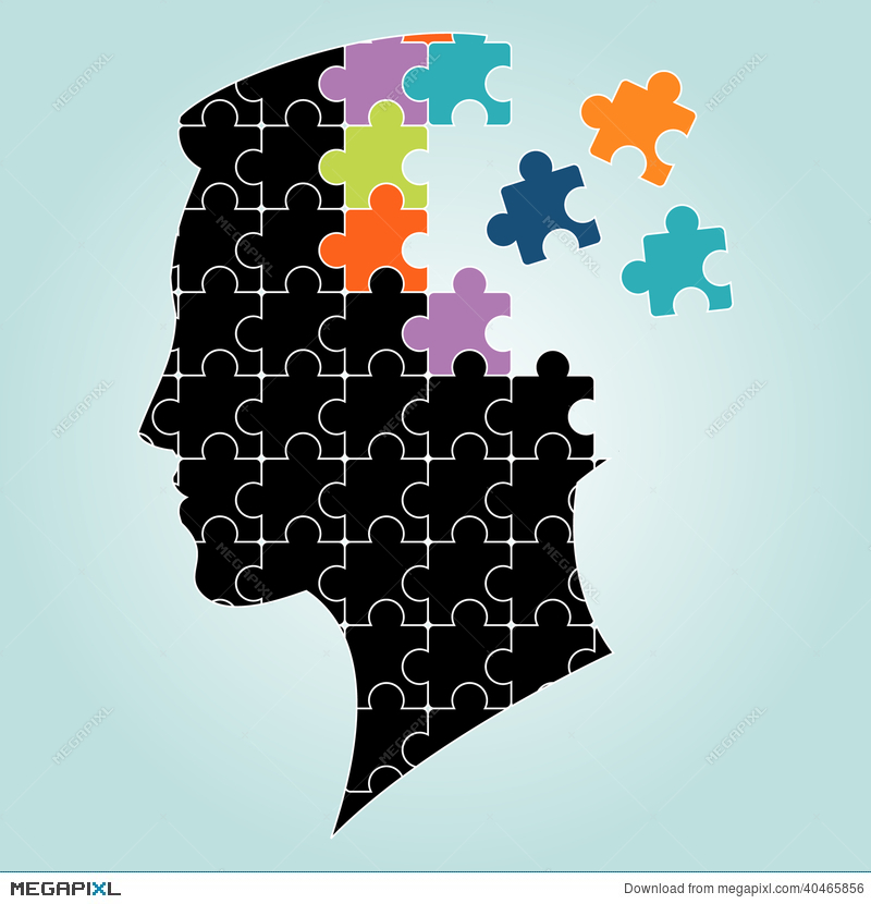 800x830 Head Man Puzzles Strategy. Vector Illustration Illustration